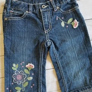 Pumpkin Patch Embroidered Floral Cropped Jeans